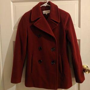 Calvin Klein Red Wool Pea Coat